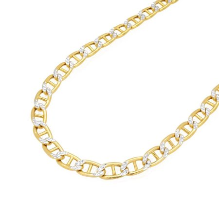 10K Yellow Gold Hollow 5mm Diamond Cut Marine Anchor Link Chain Necklace 20-26