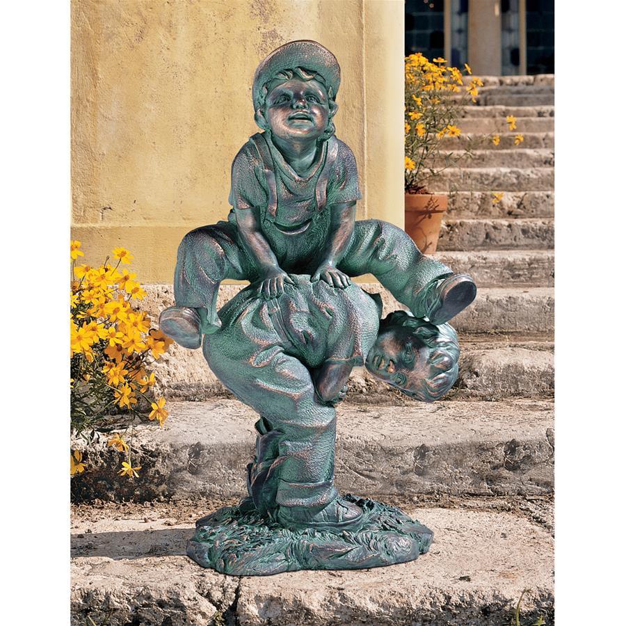 Leap Froggin Playing Boys Garden Statue by Design Toscano
