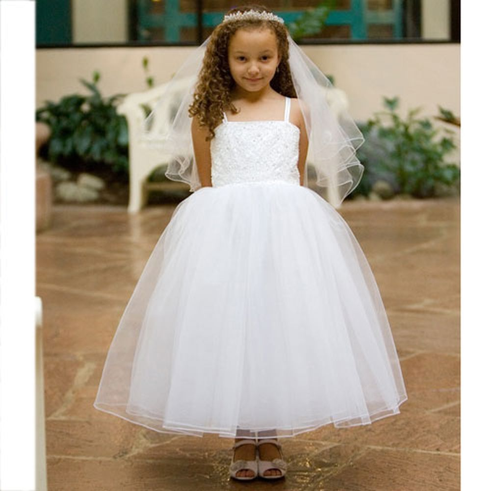 Kids Dream White Tulle First Communion Girls Dress 2T-14