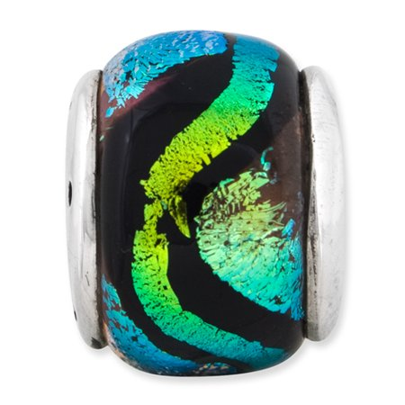 925 Sterling Silver Charm For Bracelet Green Dichroic Glass Bead Glas Fine Jewelry For Women Gifts For Her - image 7 de 8