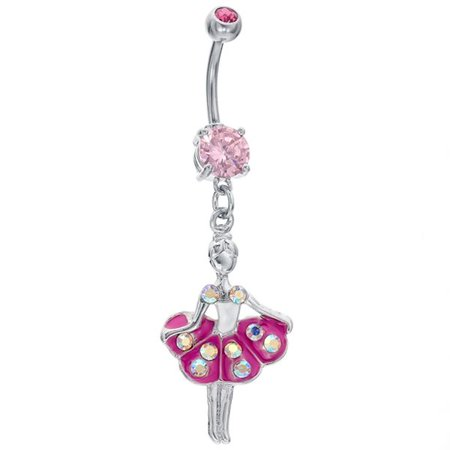 Twirling Ballerina Cz Decadence Dangle Belly Button Ring