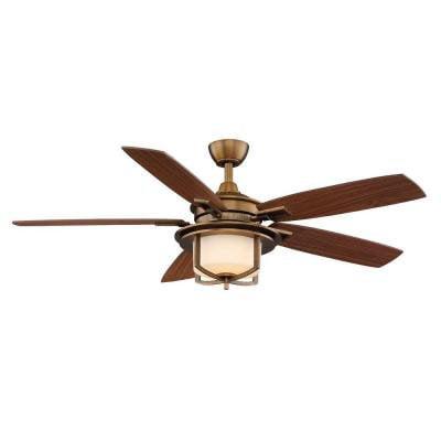 Hampton Bay AL685-WB Devereaux II 52 in. Weathered Brass Ceiling Fan by AIR COOL INDUSTRIAL CO
