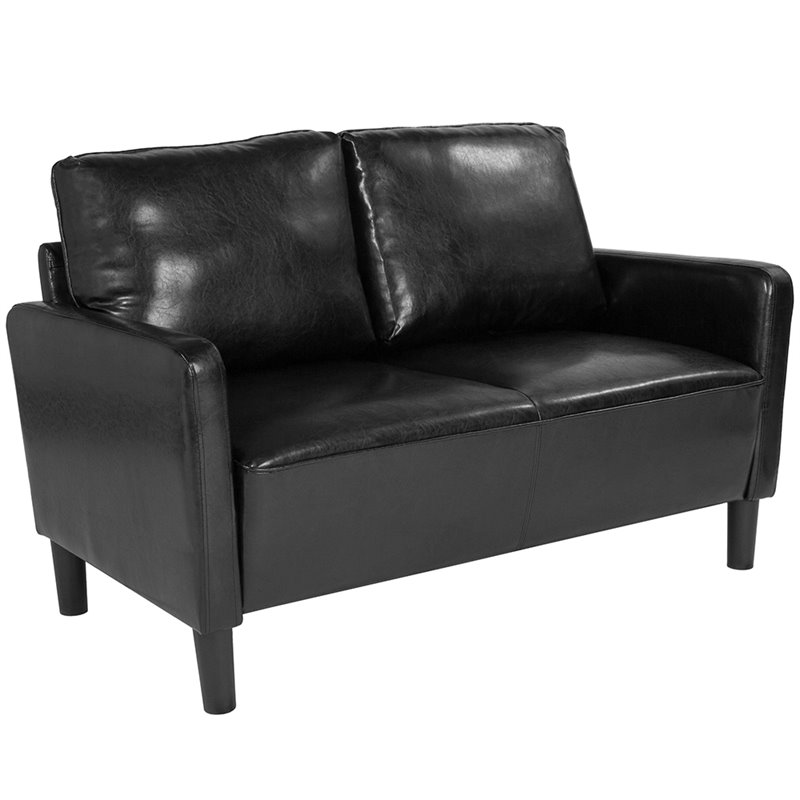 Washington Park Flash Furniture Upholstered Living Room Loveseat with Straight Arms in Dark Gray Fabric