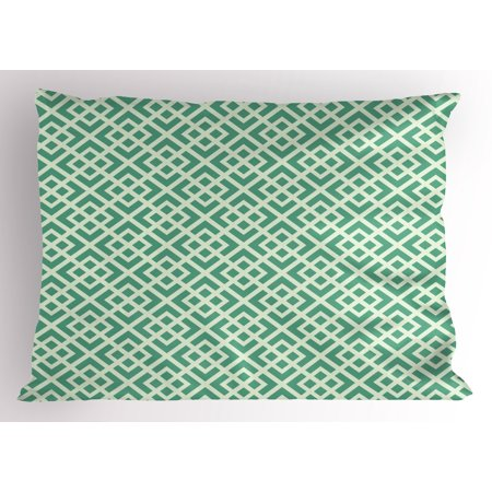 Mint Pillow Sham Shabby Fashion Abstract Squares Vintage Pattern Checkered Striped Crosswise, Decorative Standard King Size Printed Pillowcase, 36 X 20 Inches, Jade and Almond Green, by - King Jaffe