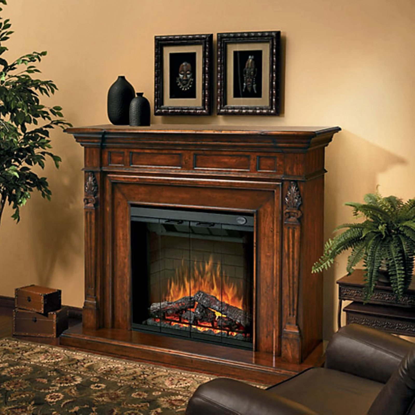 Dimplex Torchiere Mantel Electric Fireplace With Logs, Burnished Walnut