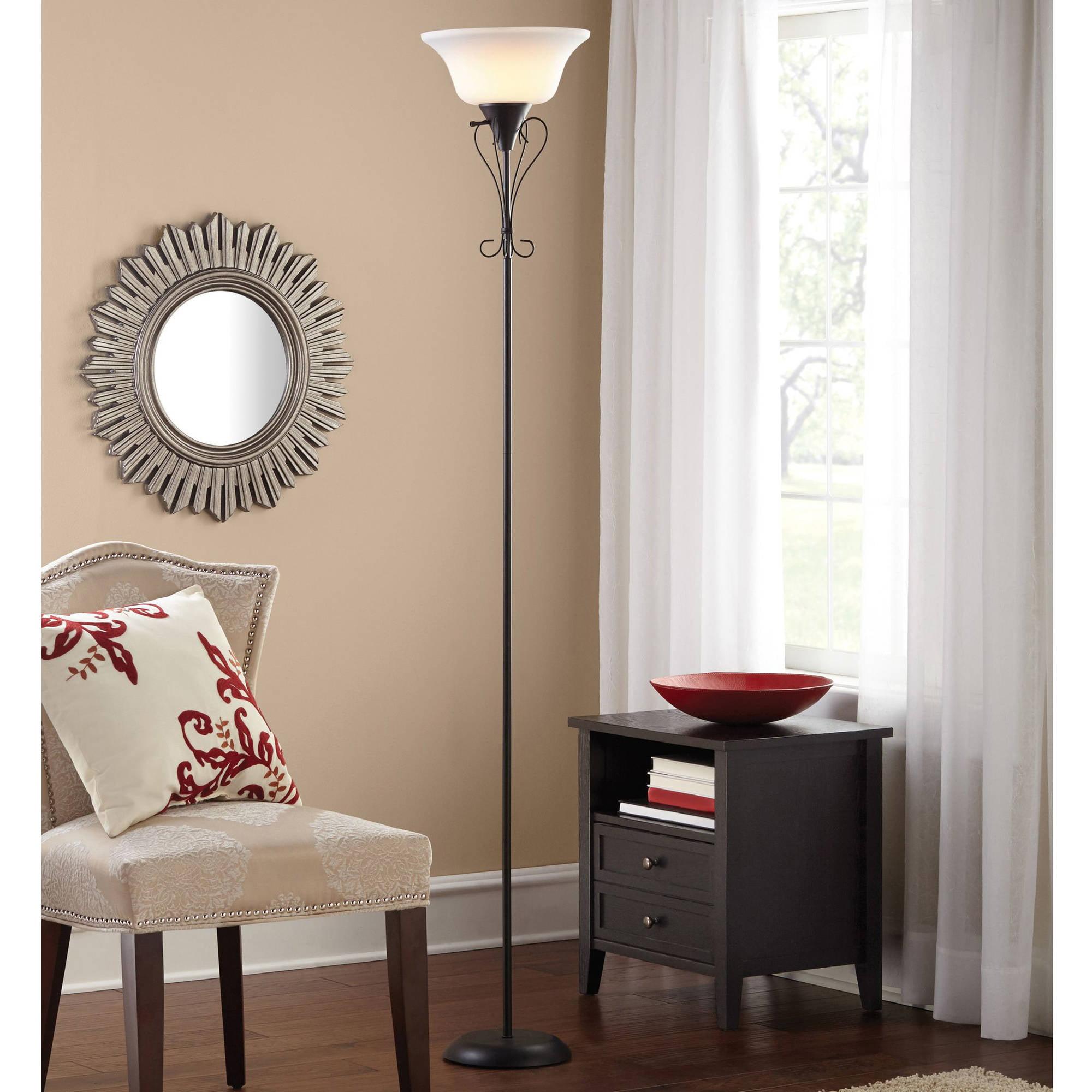 Mainstays 71 scroll torchiere floor lamp black finish walmart aloadofball Choice Image