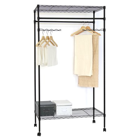 Kinbor Metal Black Closet Organizer Clothes Hanger Utility Storage Rack W Wheels