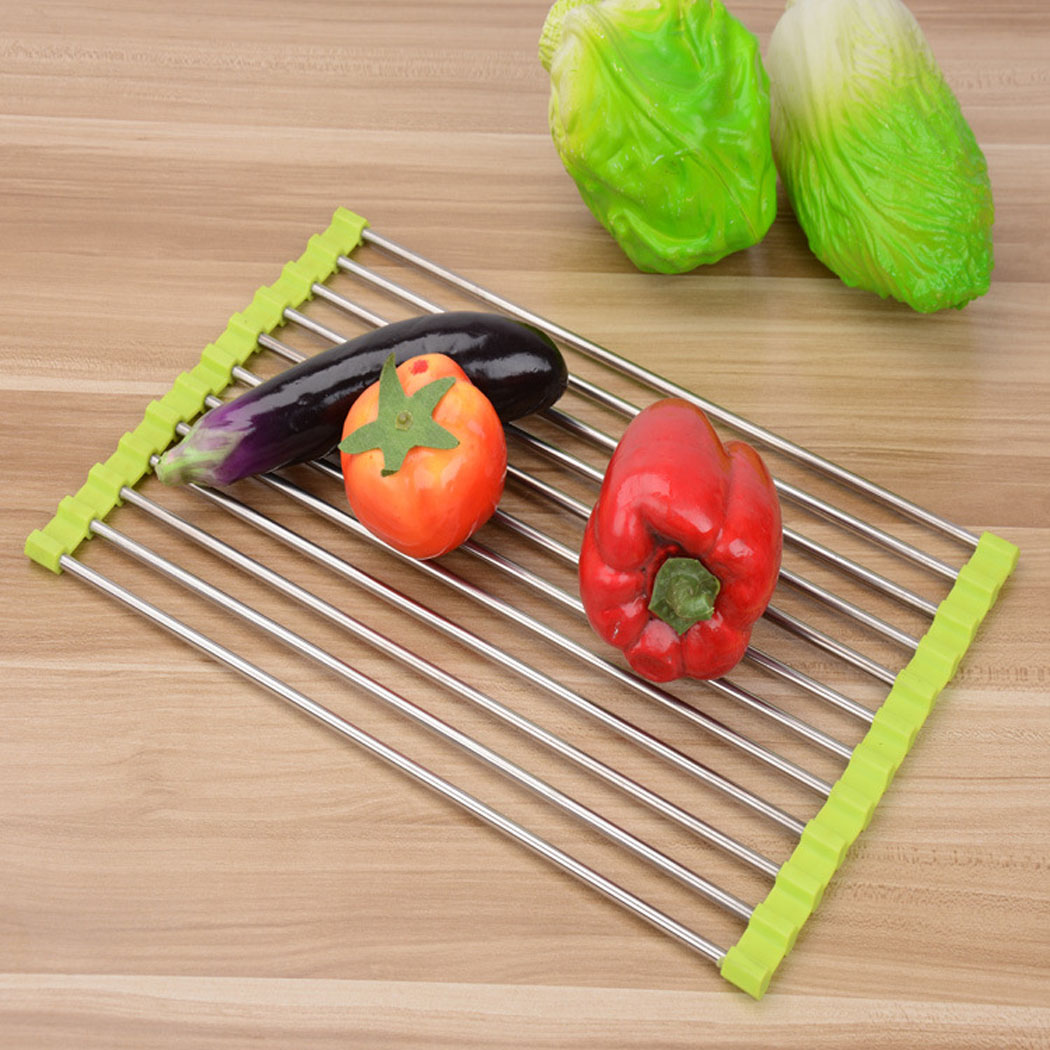 Kitchen Sink Rack, Outgeek Stainless Steel Colander Roll Up Dish Drainer Kitchen Home Accessories Wide Folding Drain Sink Rack,Green