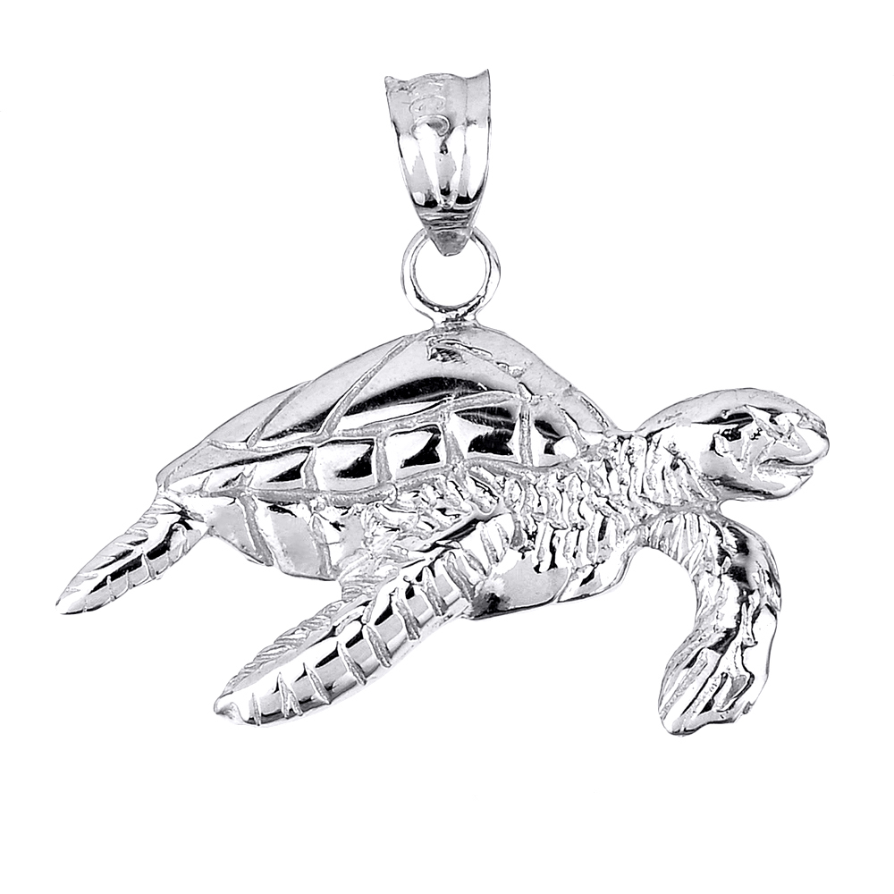 Solid White Gold Sea Turtle Charm
