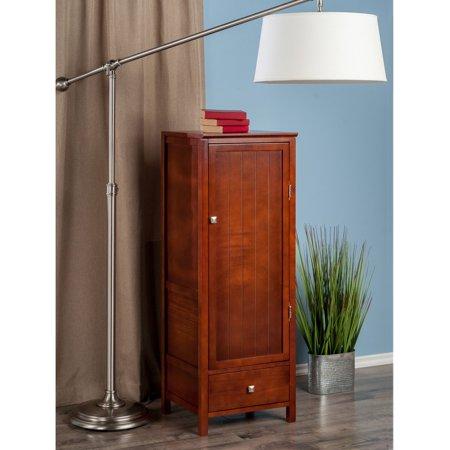 Cupboard Hutch (Brooke Cupboard with 1 Drawer and Wood Door, Walnut)