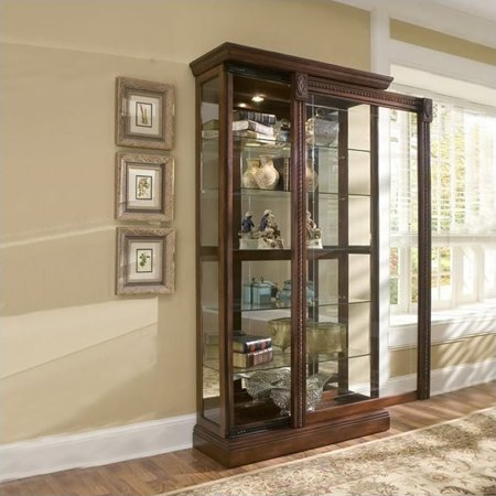 Cherry Carved Curio Cabinet - Pulaski Medallion Cherry Curio Cabinet