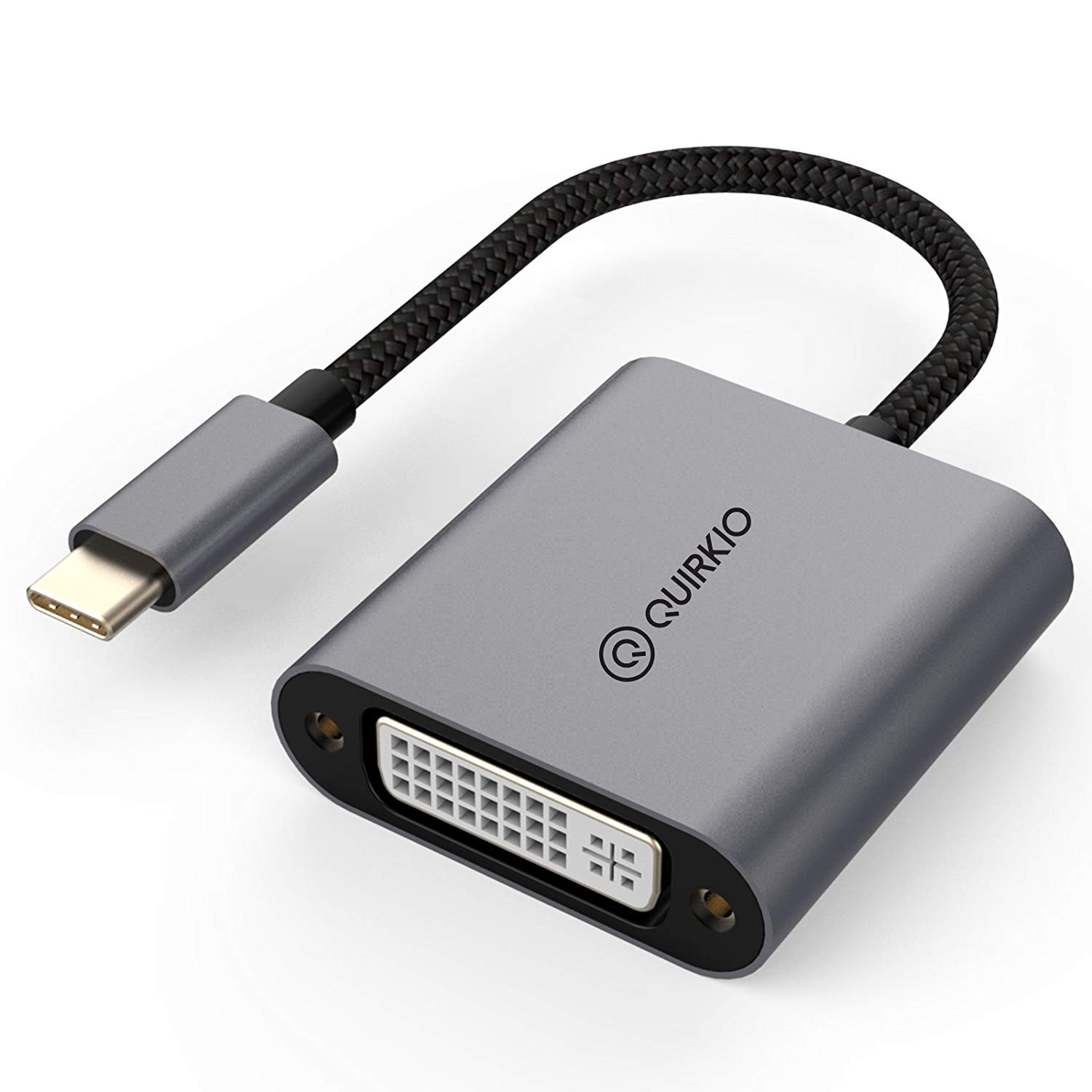 Quirkio USB C to DVI Adapter, Type C Male to DVI Female – Mirror and Stream Video, Audio and Images from USB-C Phones, Tablets, Compatible with Macbooks and Chromebooks to External Monitor Screens