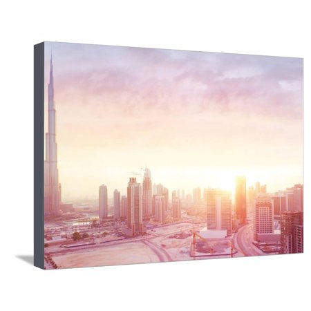 Beautiful Sunset over Dubai City, Amazing Cityscape Lit with Warm Sun Light, Contemporary New Moder Stretched Canvas Print Wall Art By Anna (Moder Sun Sphere Collection)