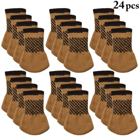 24Pcs Chair Socks, Outgeek Knitted Anti-skid Chair Leg Floor Protectors Furniture Pads Table Desk Leg Covers Caps for Home Kitchen Living Room Patio Office