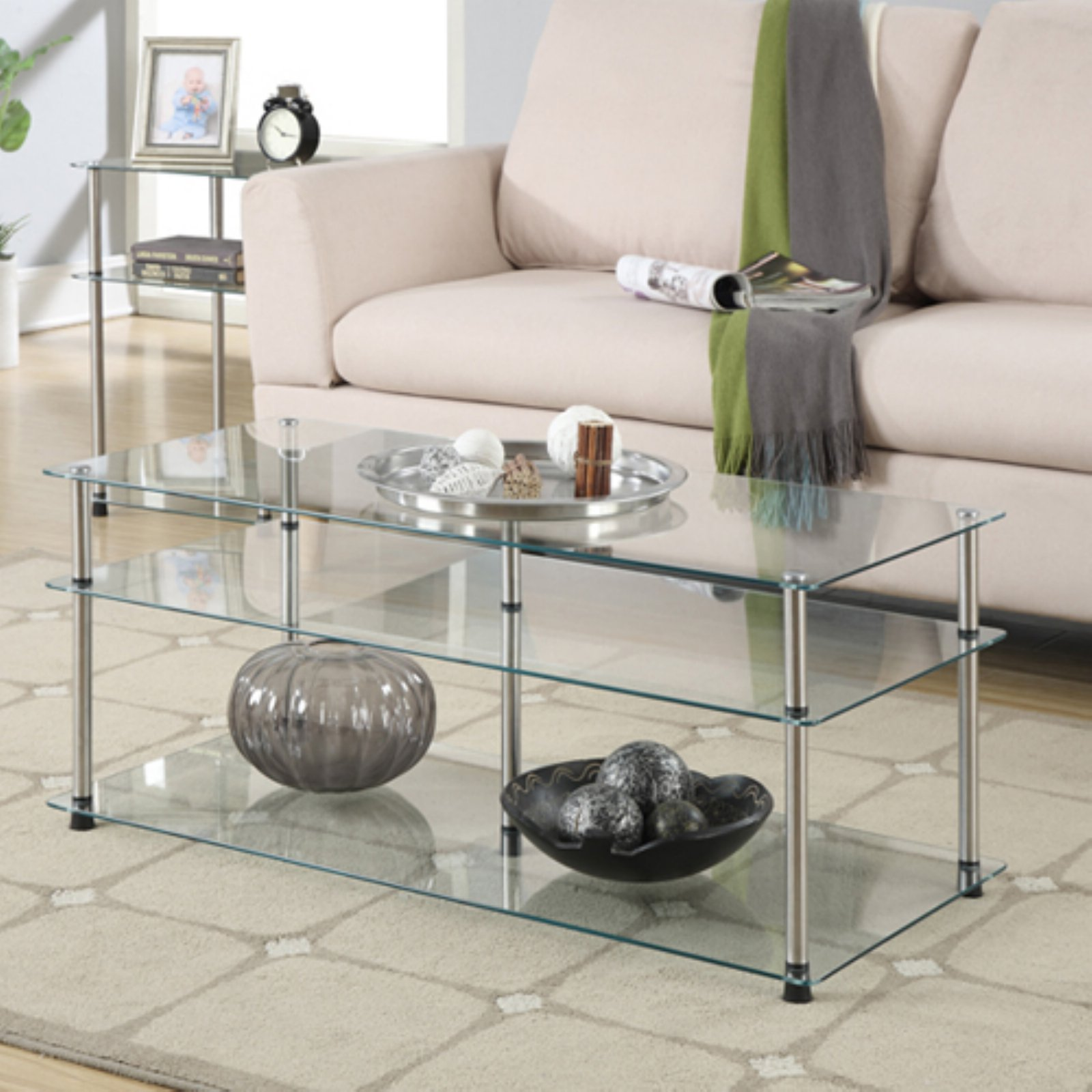 Convenience Concepts Designs2Go No Tools 3 Tier Coffee Table, Glass