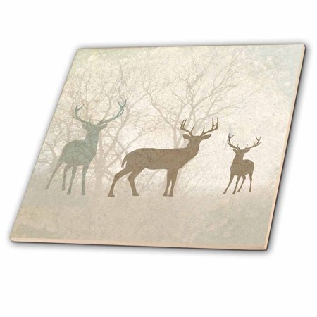 3dRose Deer Silhouettes Set Against Faded Forest Background in Earth Tones - Ceramic Tile, - Earth Tile Box