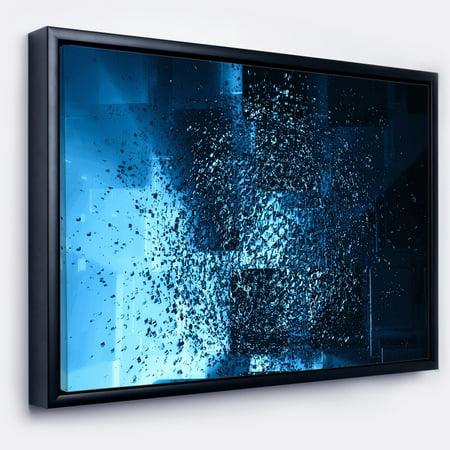 DESIGN ART Designart 'Fractal 3D Blue Paint Splash' Abstract Framed Canvas Art (3d Canvas Art)