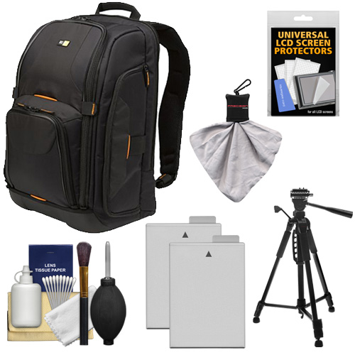 Case Logic Digital SLR Camera Backpack Case (Black) (SLRC-206) + (2) LP-E8 Batteries + Tripod + Accessory Kit for Canon EOS Rebel T2i, T3i & T4i