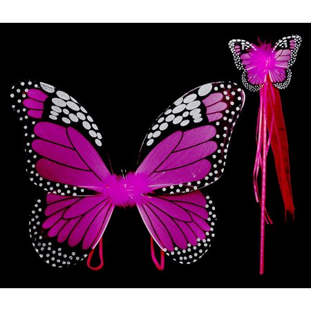 Costume Accessory Fuchsia Monarch Children Butterfly Wings and Wand 2pc Set](Wands And Wings)