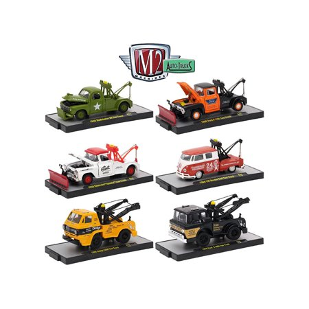 auto trucks 6 piece set release 44 in display cases 1 64 diecast model cars by m2 machines. Black Bedroom Furniture Sets. Home Design Ideas