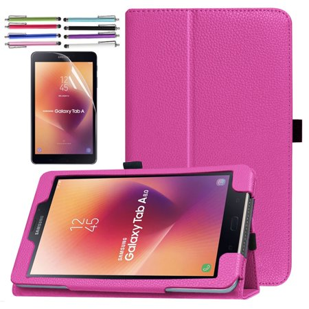 Folding PU Case for Galaxy Tab A 8.0 (2017), EpicGadget Premium PU Leather Folding Folio Case with Built in Stand For Galaxy Tab A 8 (T380/T385) (2017 Release) (Hot Pink)