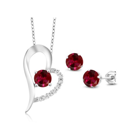 3.32 Ct Round Red Created Ruby 925 Sterling Silver Pendant Earrings Set