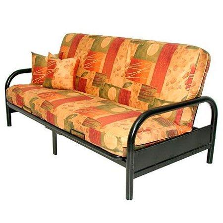 black round arm full size metal futon frame