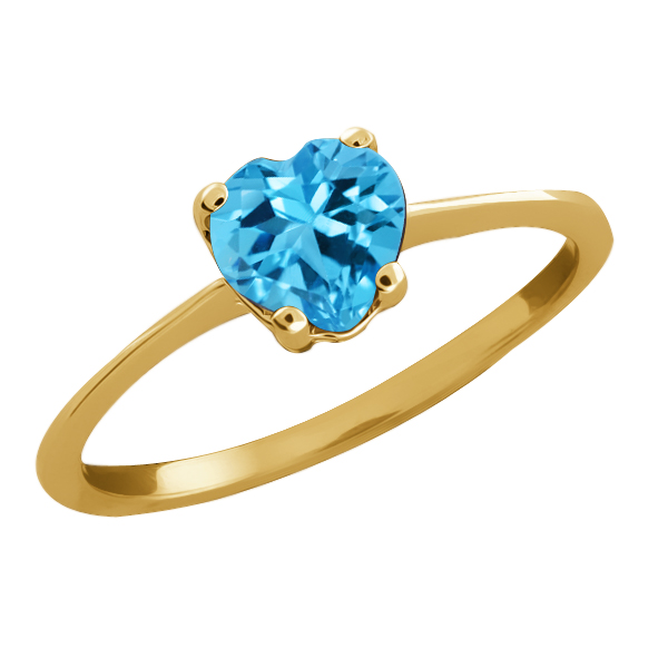 1.00 Ct Heart Shape Swiss Blue Topaz 14k White Gold Solitaire Ring by