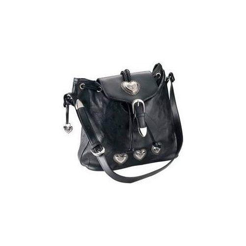 Maxam Brand Saddle Handbag W/ Heart Accents ,Black,one size