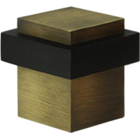"1-3/8"" Solid Brass Square Universal Door Bumper Antique Brass"