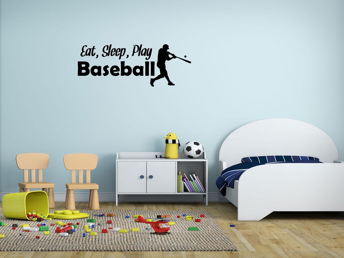 Wall Decal Quote Eat Sleep Play Baseball Wall Decal Sports Wall Art Gd27 Walmart Com Walmart Com