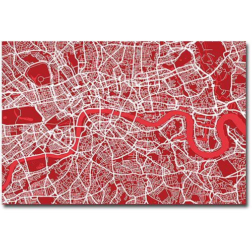 "Trademark Art ""London Street Map IV"" Canvas Wall Art by Michael Tompsett"