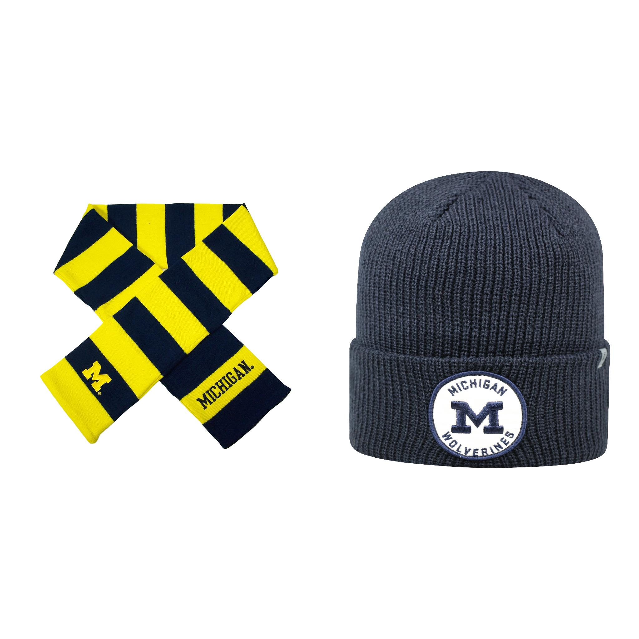 Forever NCAA  Wharf Beanie Hat And Striped Rugby Scarf 2 ...