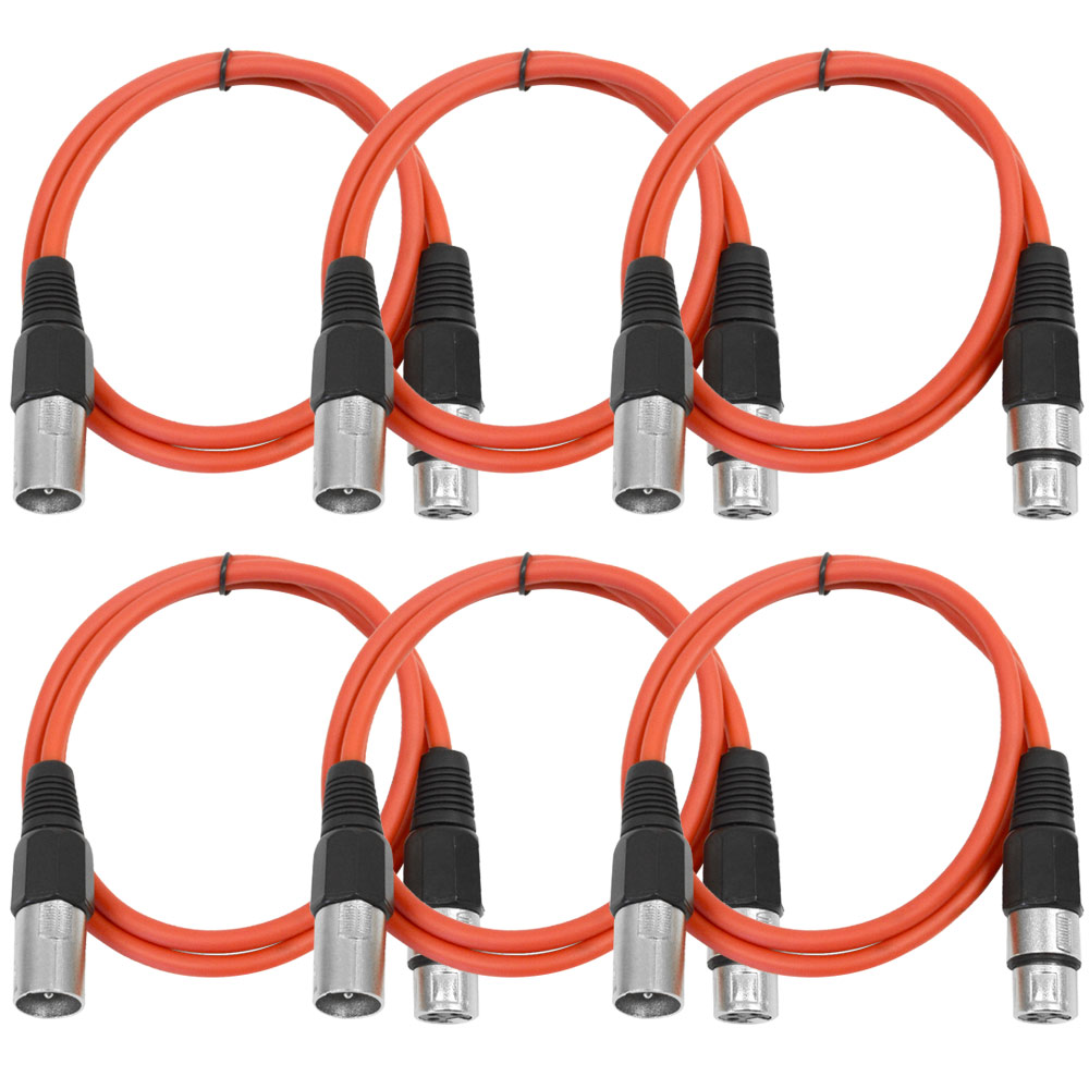 Seismic Audio  (6 PACK) Red 3' XLR Patch Cables - Snake Red - SAXLX-3Red6