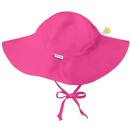 Iplay Brim Sun Hat for Baby Girls Sun Protection Wide Brimmed Hat- Solid Hot Pink-Newborn 0-6 Months Baby Girl Hat Is Adjustable To Fit Outdoor Hat With Chin Strap; Pool Beach Floppy Fisherman Swim