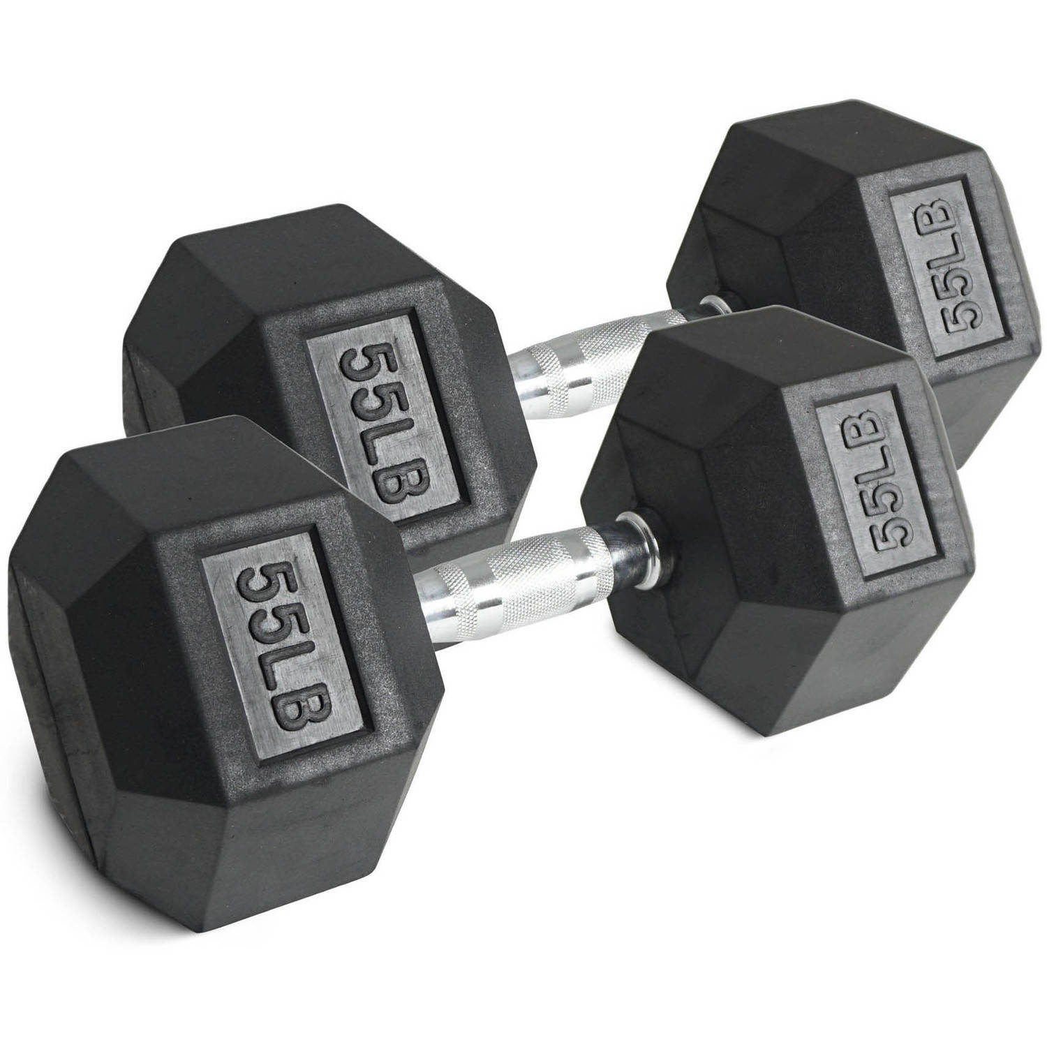 Pair of 55 lb Black Rubber Coated Hex Dumbbells Weight Training Set, 110 lb by Titan Fitness