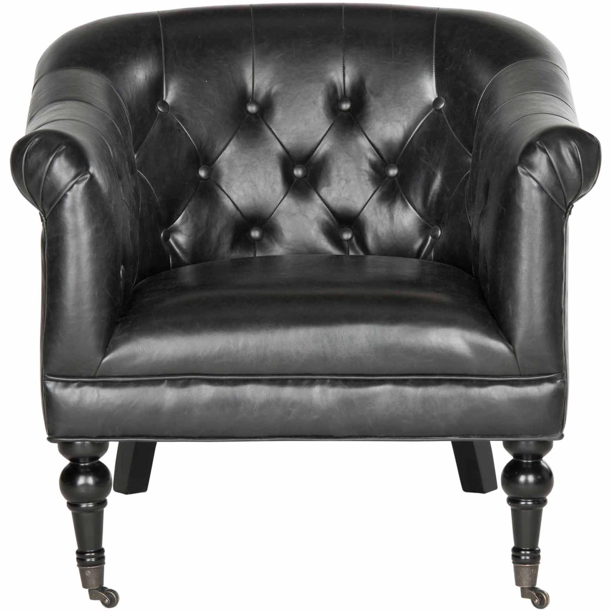 Safavieh Nicolas Bicast Leather Club Chair, Antique Black by Safaveih