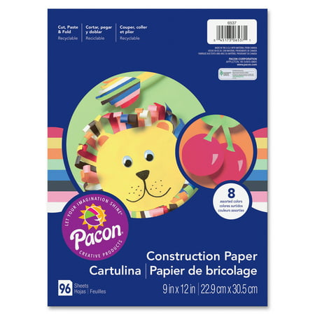 "Pacon® Lightweight Construction Paper, 9"" x 12"", 96 Sheet, 8 Colors"