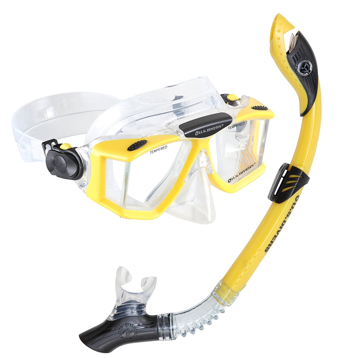 US Divers Adult Sideview LX Mask and Paradise Dry LX Snorkel Silicone Combo