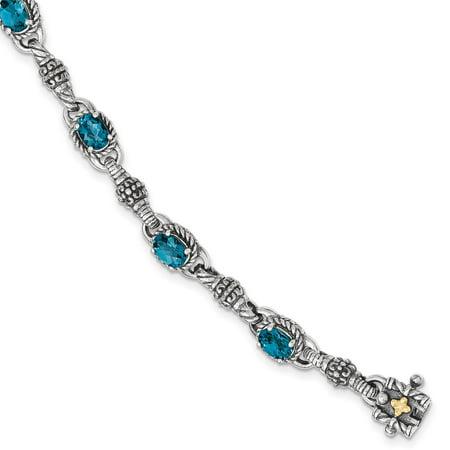 "Shey Couture 925 Sterling Silver w/14k London Blue Topaz 7.25"". Bracelet"