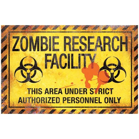 Zombie Research Factory Metal Sign Halloween Decoration - Halloween Please Take Two Sign