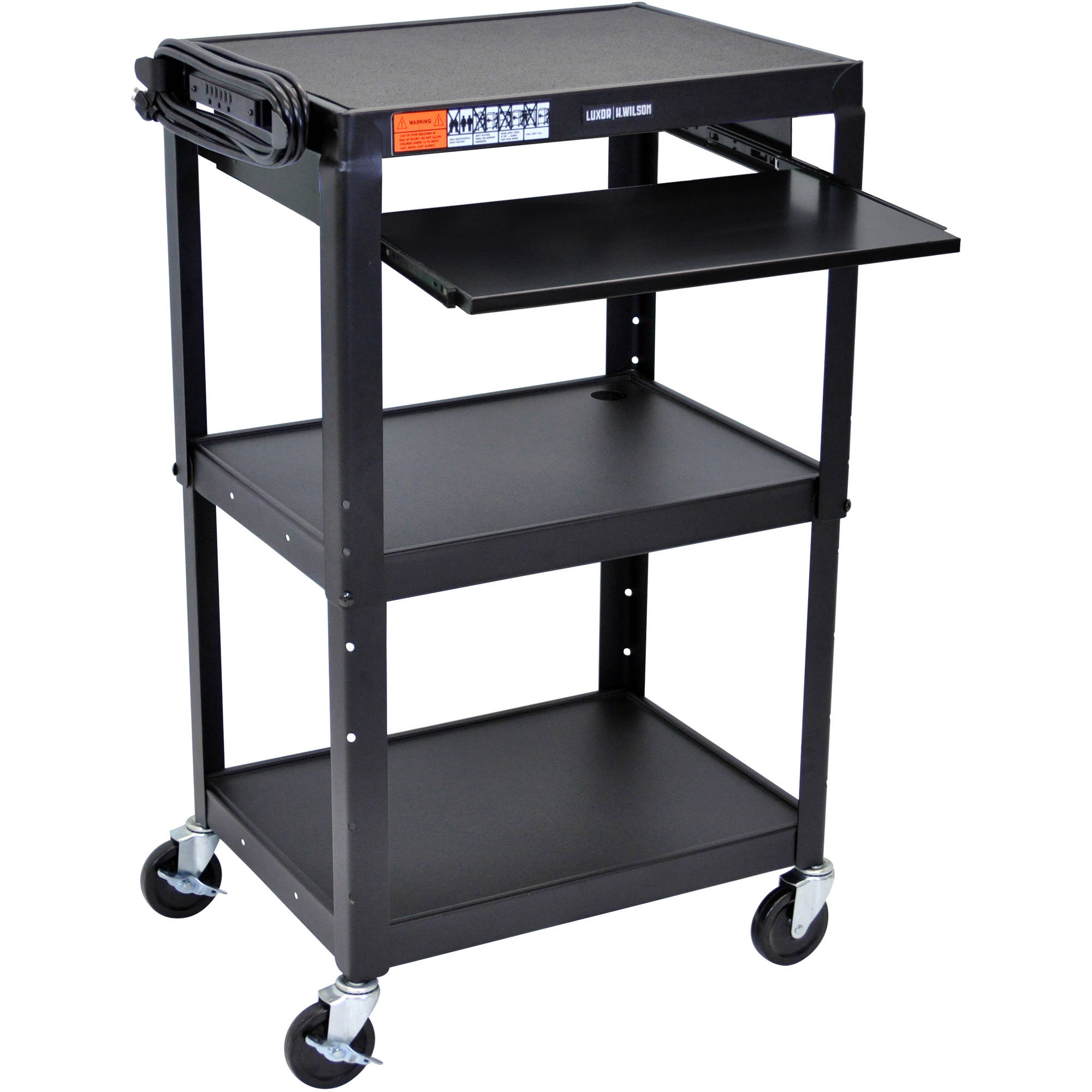 Luxor Steel Adjustable Height A/V Cart with Pullout Keyboard Tray