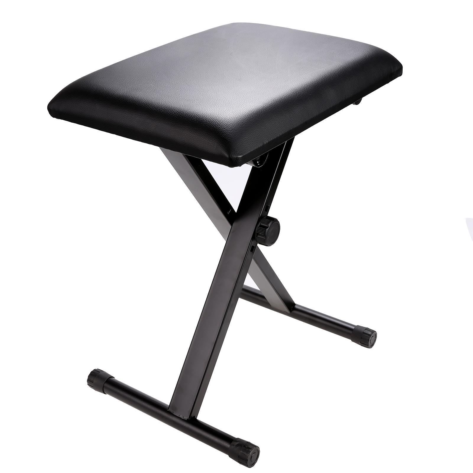 Adjustable Piano Keyboard Bench Stool Chair �with Leather Padded Seat Rubber Folding Feet... by