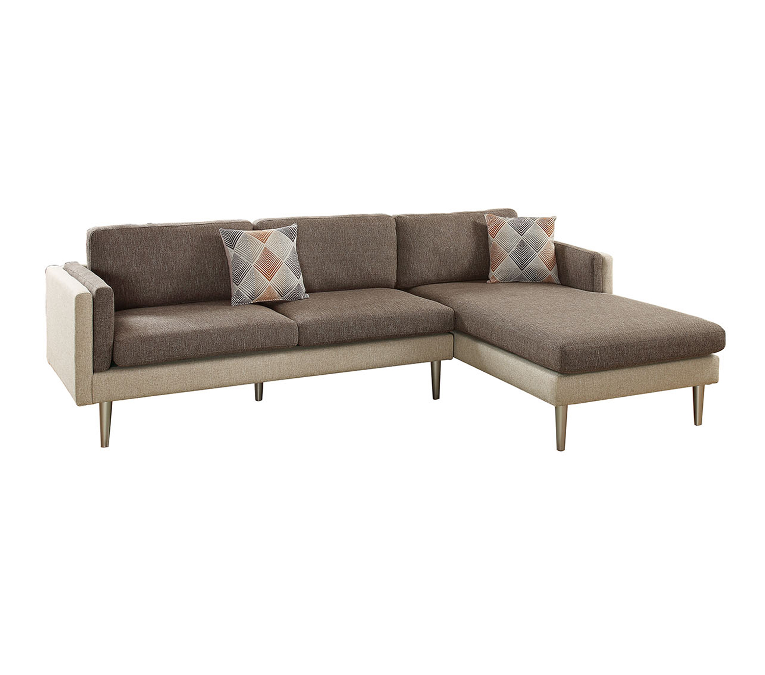 Bobkona Dreena Cotton Blend Polyfabric Sectional Two Tone in Ash Black and Sand. by Poundex