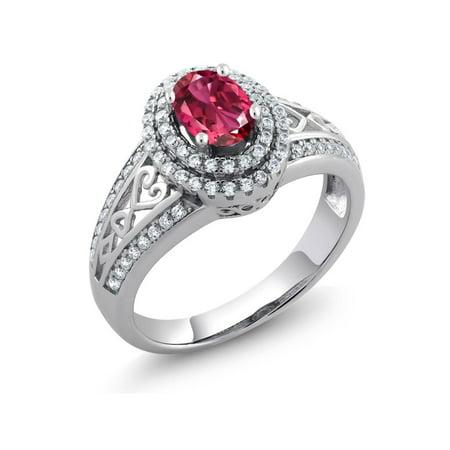 1.24 Ct Oval Pink Tourmaline 925 Sterling Silver (Trillion Pink Tourmaline Ring)