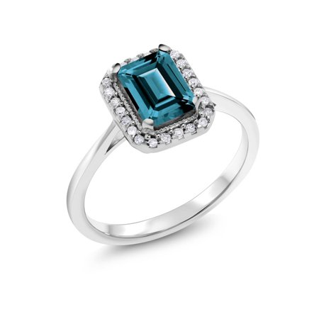 - 10K White Gold 1.31 Ct Emerald Cut London Blue Topaz Solitaire Diamond Ring