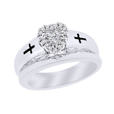 Set Round Diamond Cross - Round Cut White Natural Diamond Heart Cross Bridal Set Ring in 14k White Gold Over Sterling Silver (0.2 Cttw)