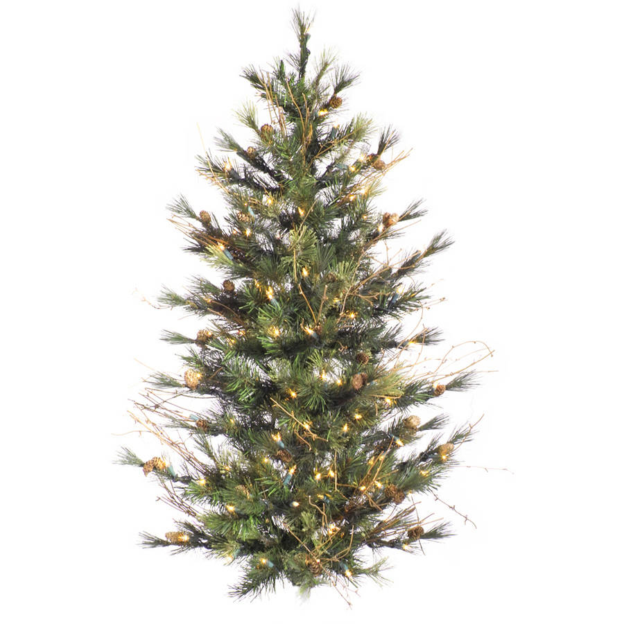 Vickerman 4' Mixed Country Pine Artificial Christmas Wall Tree, Unlit