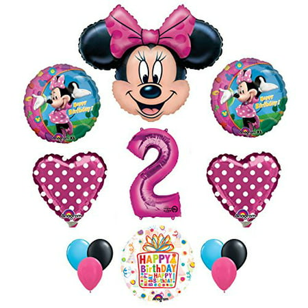 Minnie Mouse 2nd Birthday Party Supplies and Pink Bow 13 pc Balloon Decorations](Minnie Mouse 2nd Birthday Decorations)