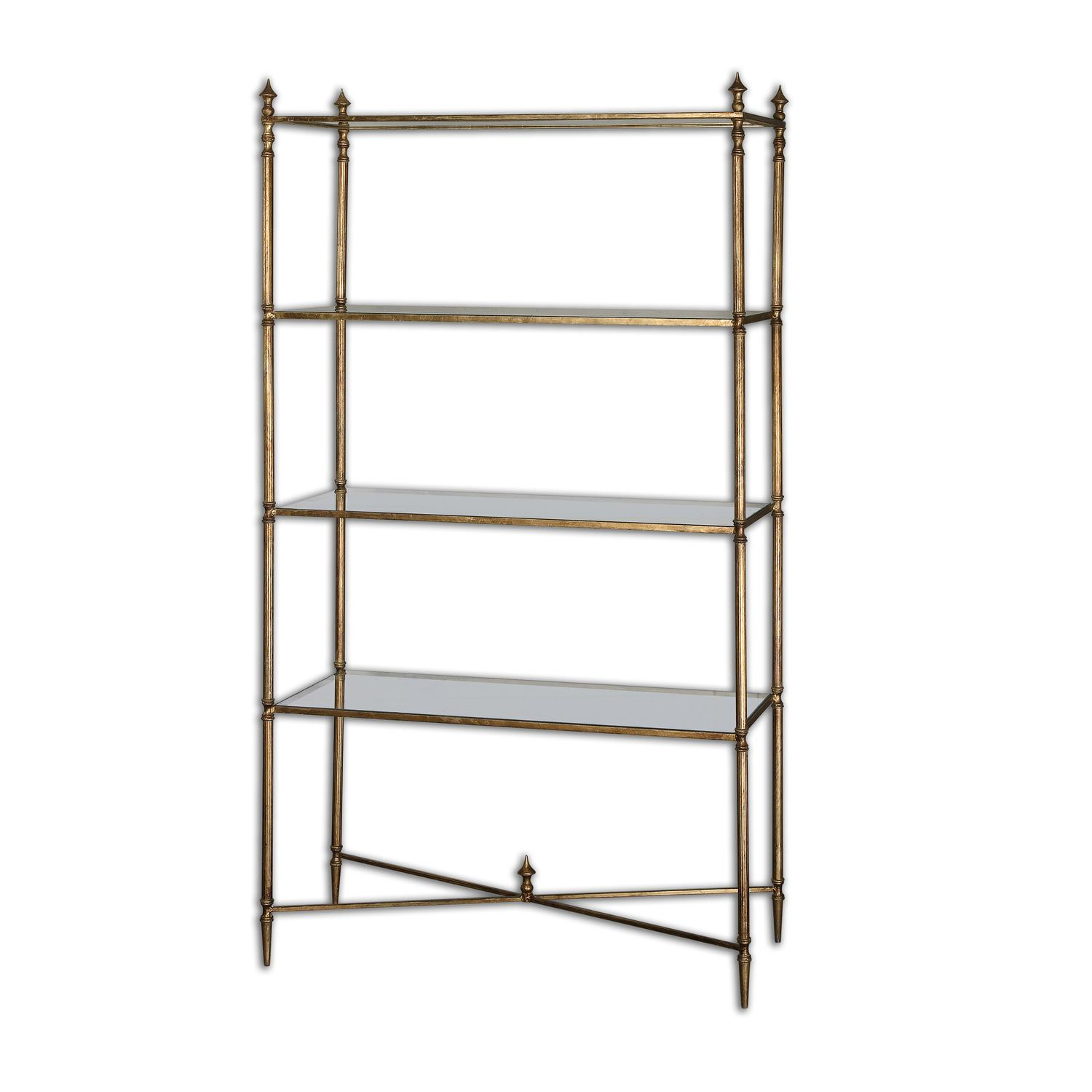 "62"" Collier Antiqued Gold Leaf & Tempered Glass Etagere Display Shelves by Diva At Home"